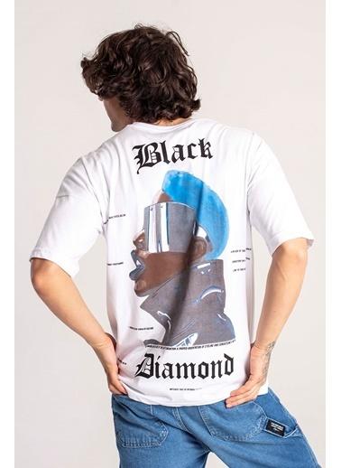 XHAN Siyah Önü & Arkası Baskılı Oversize T-Shirt 1Kxe1-44660-02 Beyaz